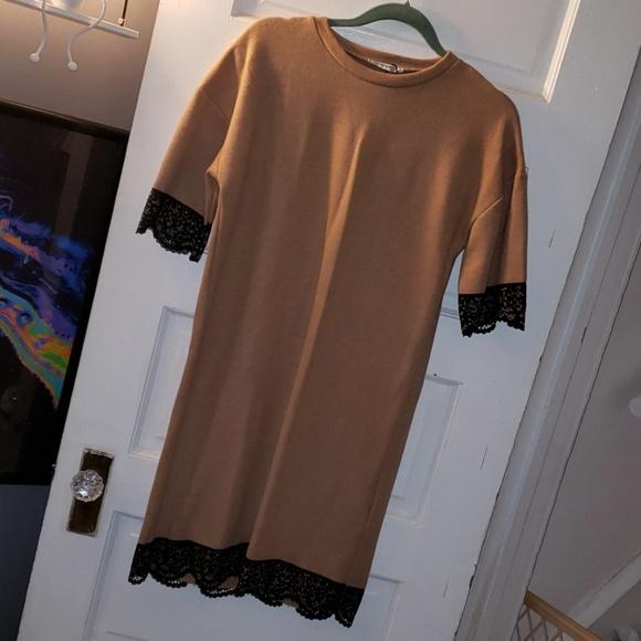 Zara Dresses & Skirts - Zara tan black lace sweater dress nwt sz s